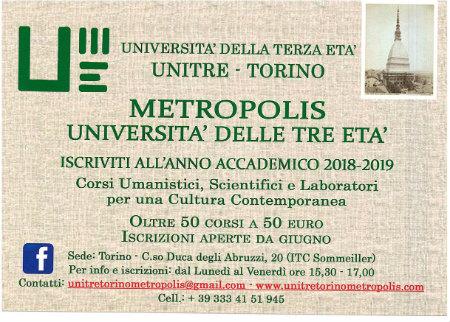 UNITRE METROPOLIS TORINO 2018/2019