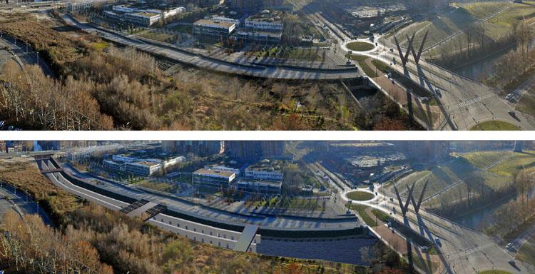 Demolizione della copertura della Dora Riparia tratto Valdocco-Mortara, Torino, stato di fatto (in alto) e rendering visuale al completamento (in basso)