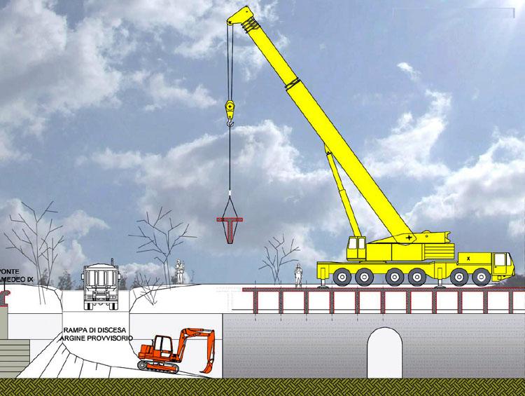 Dora Riparia, schema della rimozione della soletta di copertura in cemento (grafico del progetto di demolizione)