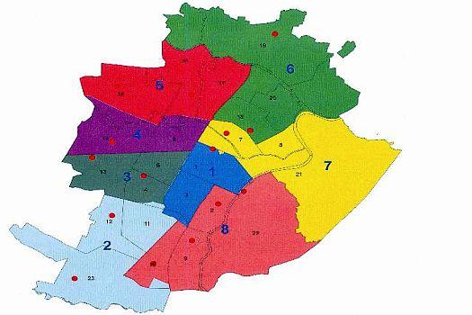 le 8 circoscrizioni previste dalla norma transitoria