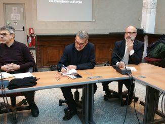 Da sinistra, Massimo Giovara, presidente della Commissione Cultura, Paolo Verri, Direttore della Fondazione Matera Basilicata, Juan Carlos De Martin, curatore del Festival della Tecnologfia
