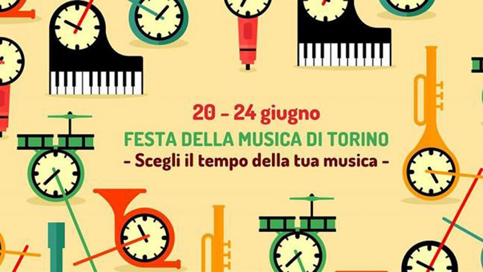 locandina festival della musica con loghi di pianoforti, trombe e tamburi