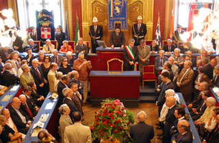La cerimonia in Sala Rossa